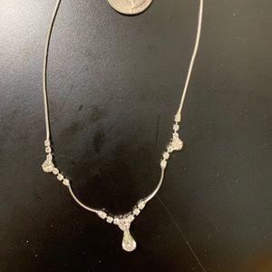 "Jewelry - Silvertone & Rhinestone 15"" Necklace"